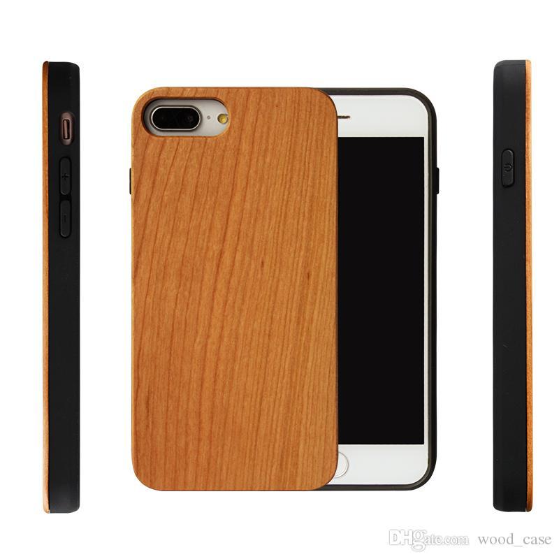 احدث اسلوب تخصيص الخشب الحقيقي + لينة tpu صدمات حالة الهاتف لآيفون 7 8 زائد محفورة خشبية غطاء الهاتف المحمول ل فون 6 6 ثانية x