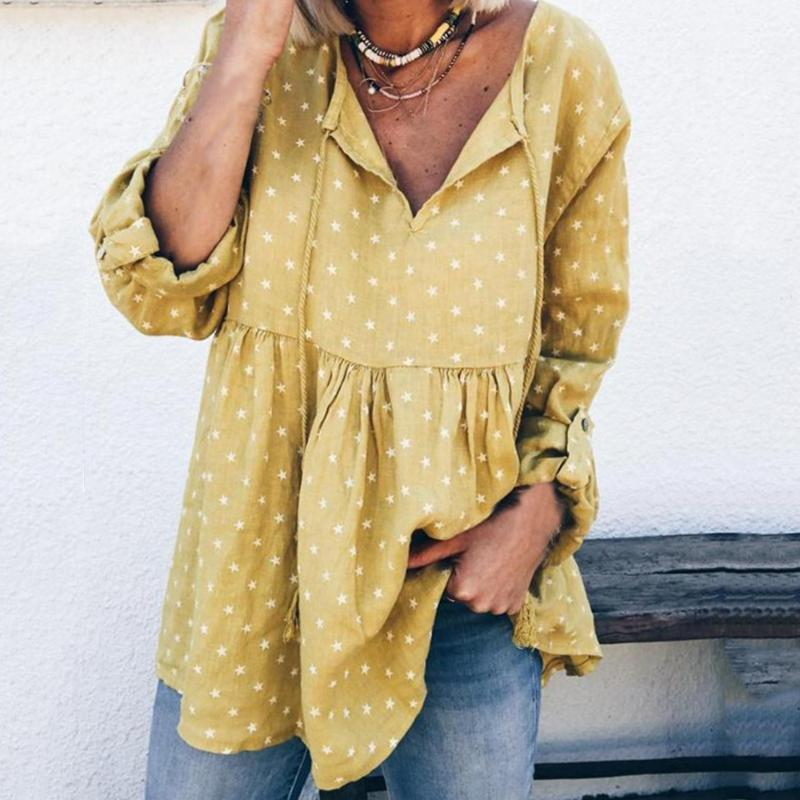 Puimentiua de Ropa de verano 2020 Imprimir Estrellas blusas informal camisa de manga larga Blusas mujeres sueltan más el tamaño de las mujeres Túnica