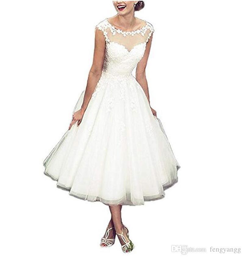 Élégant casquette manches manches robes de mariée style cagnode coule cou dentelle appliques tulle a ligne de thé longueur robes de mariée sur mesure