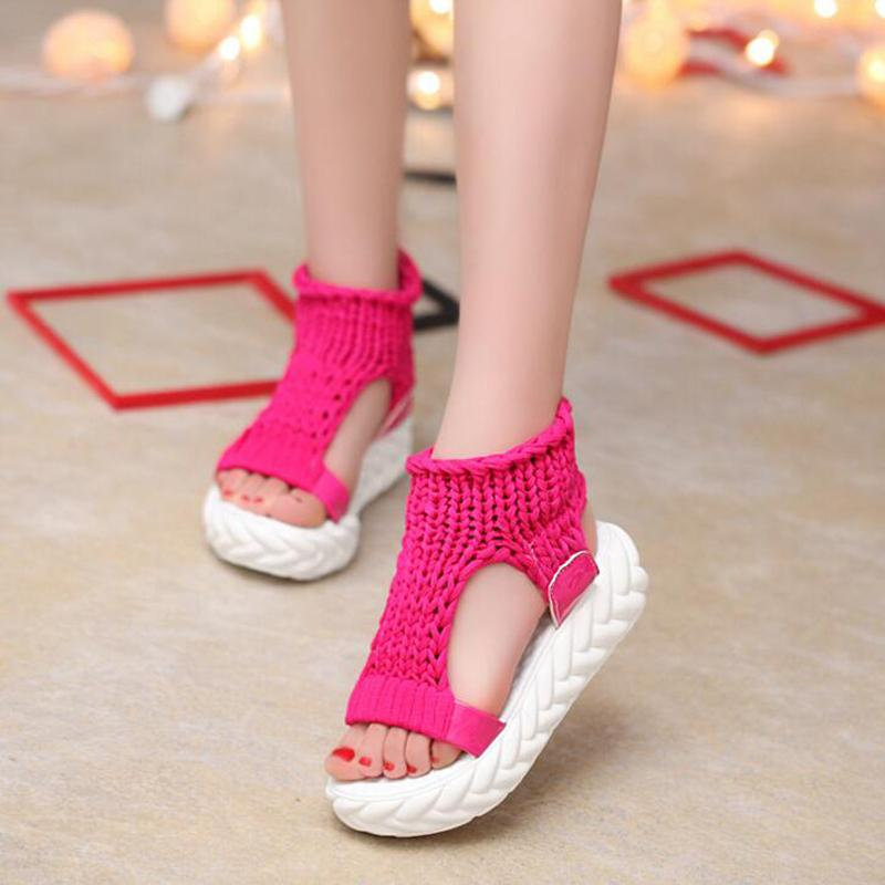 Bequeme beiläufige Wolle-Frauen-Sommer-Sandelholz-Knit-Plattform-Schuh-Süßigkeit-Farben-Keil-Sandalen für Frauen High Heel-Sommer-Schuhe c14