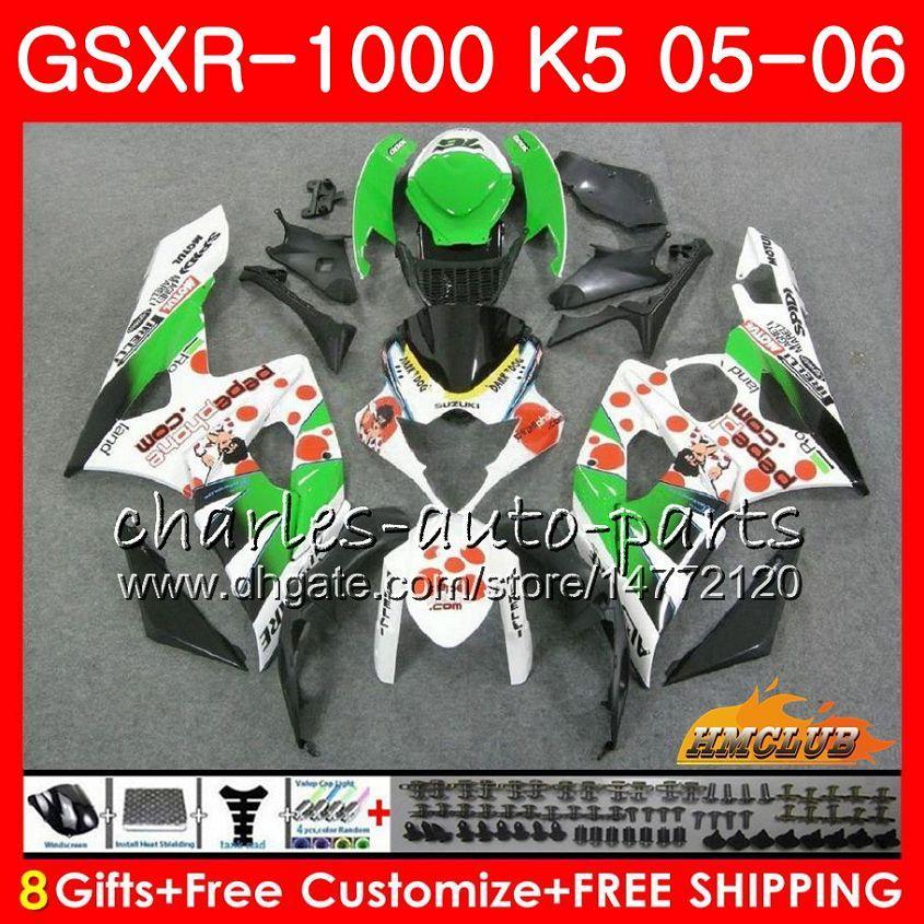Тело Peppenone белый + капюшон для Suzuki GSXR-1000 GSXR 1000 05 06 CUDLEWORK 11HC.40 GSX-R1000 GSXR1000 05 06 K5 GSX R1000 2005 2006 обтекательный комплект