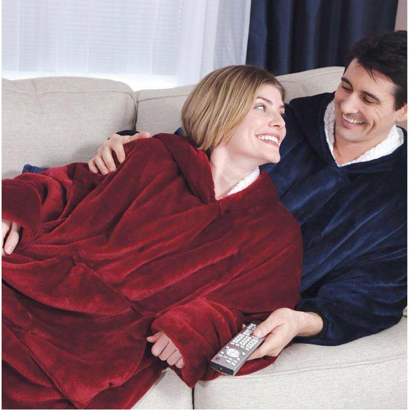Flanell-Decke mit Ärmeln weiche warme Plüsch Hoodie Slant Bademantel Tasche Pullover Winter Adult TV Blankets