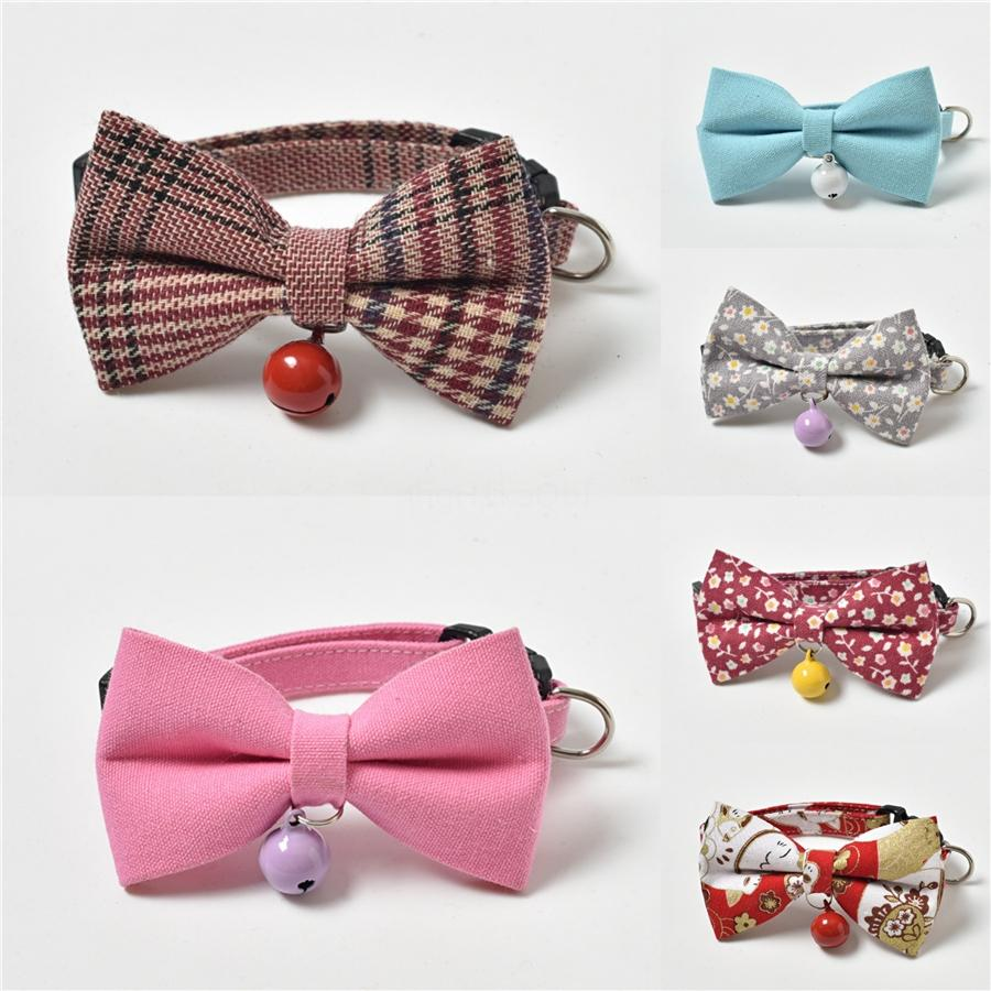 Japanese Style Cute Small Dog Pet Bowknot Collar Cloth Elastic Puppy Dog Cat Collars With Pendants Zc1803 #635