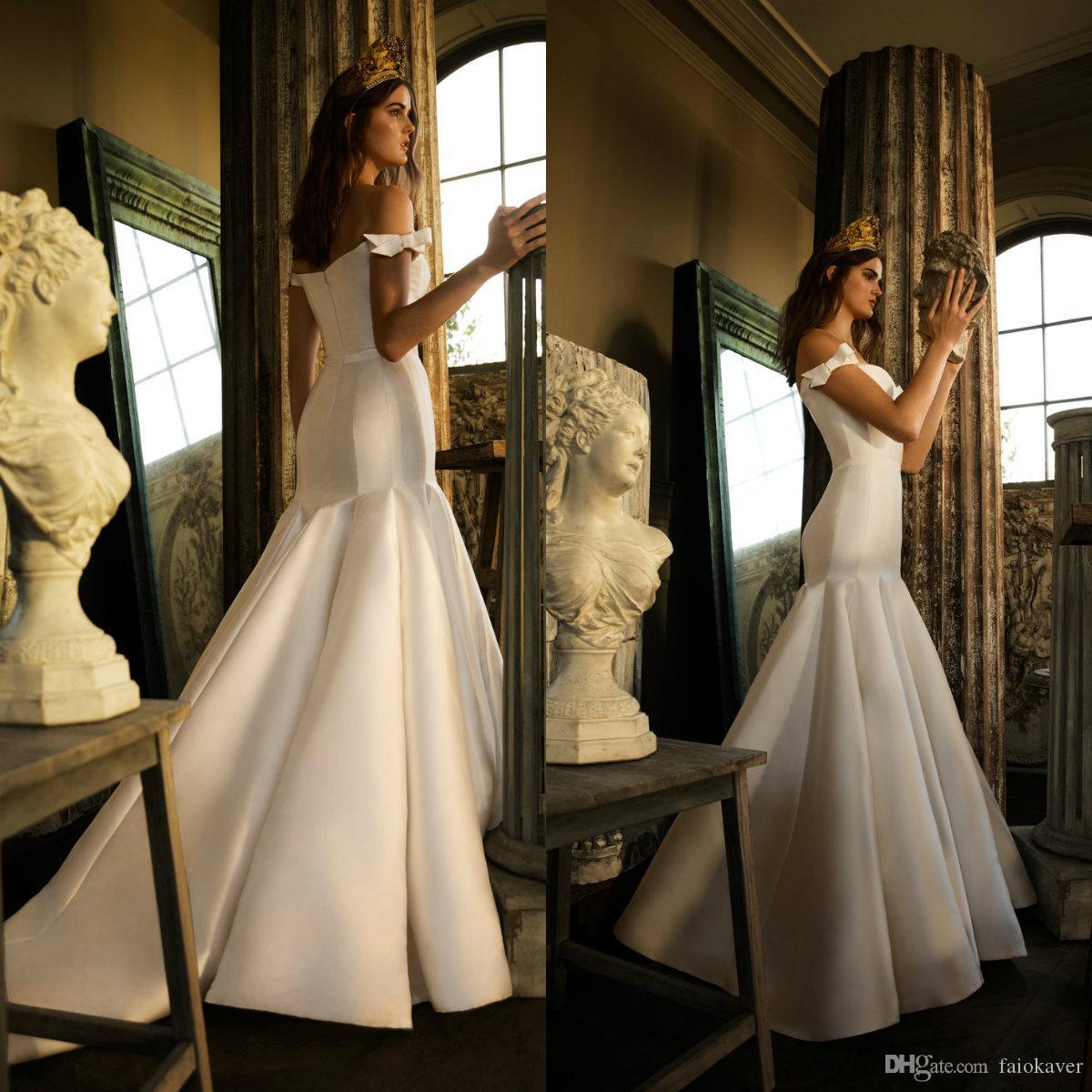 2019 атласная русалка свадебные платья с плеча разведка поезда лук элегантный пляж свадебное платье ruffles плюс размер boho bridal платья