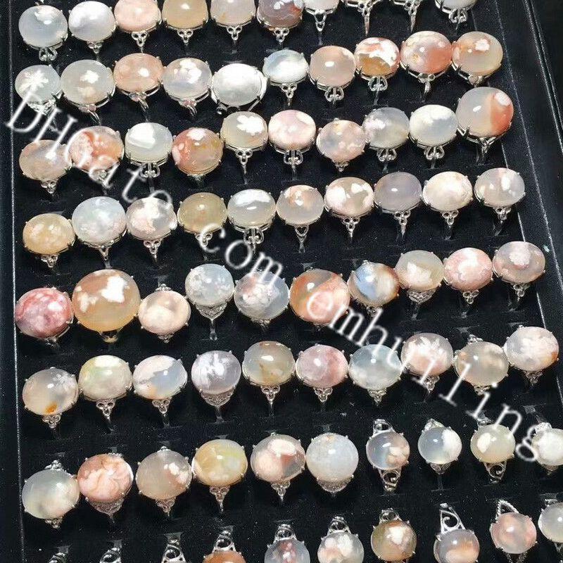 20Pcs Genuine Madagascar Sakura Flower Chalcedony Crystal Beads Rings Beautiful Natural Cherry Blossoms Agate Quartz Gemstone Bead Rings