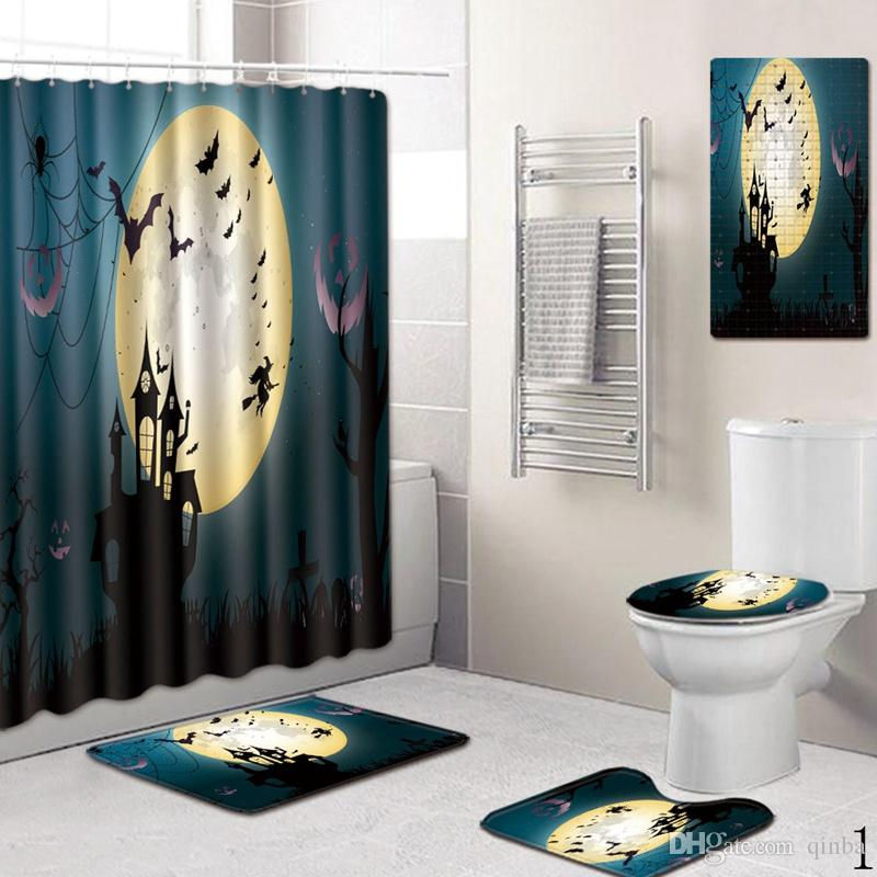 Halloween Salle de bain Décoration 45 * 80cm * 75cm50 rideau de douche suspendu Rideau Tapis cinq pièces Siège de toilette antidérapante Absorbent Pad