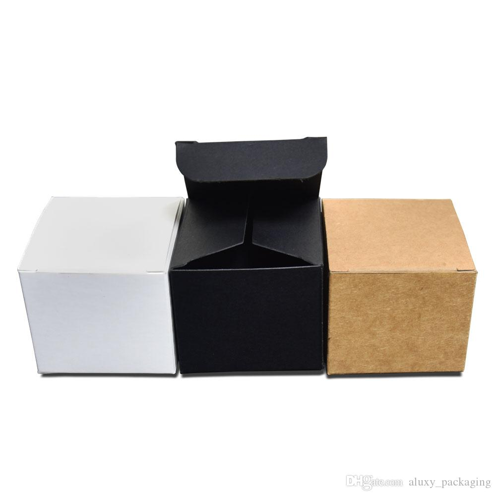 4x4x4cm 3 Colored Kraft Paper Packaging Box Foldable Face Cream Packing Paperboard Boxes Jewelry Gift DIY Package Box 50pcs/lot