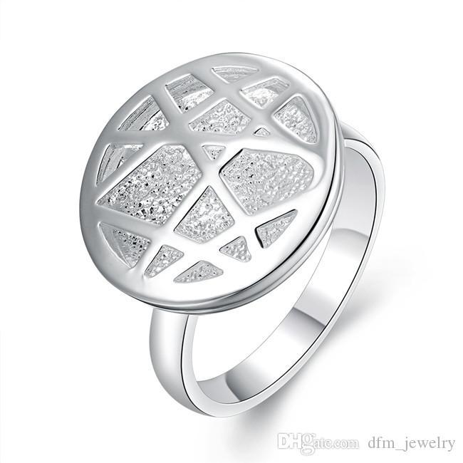 Tout neuf! En argent sterling plaqué anneaux ronds dames ajourées DJSR678 taille US 7; design de mode unisexe 925 plaque en argent bijoux bande Anneaux
