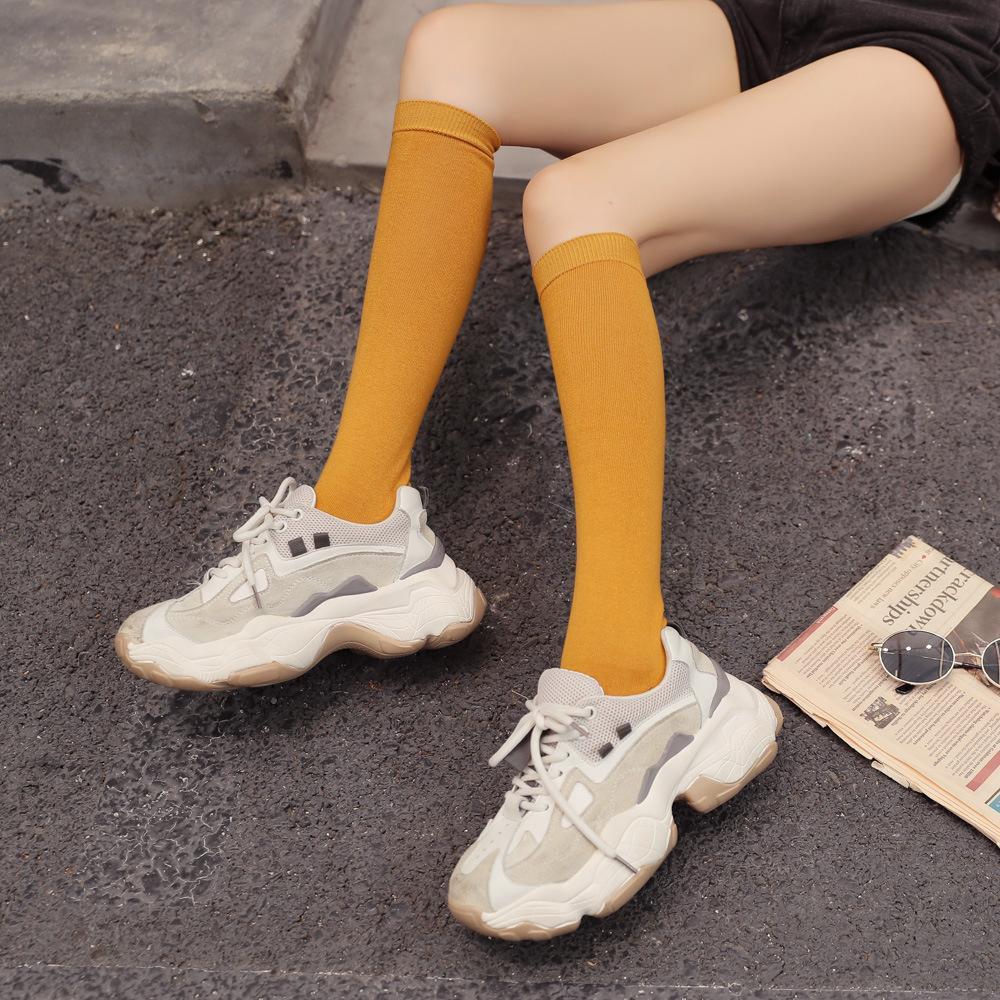Moda e semplice kneestockings piatti calze giapponesi e coreani di cotone vitello calzini medio lungo tubo di colore solido di alta tubo socks912