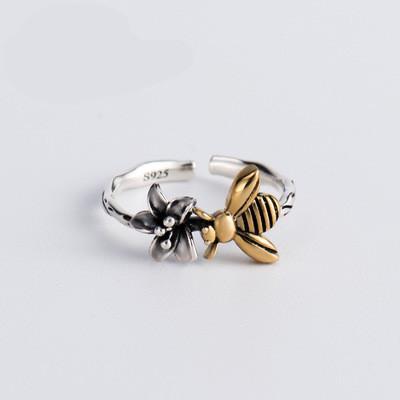 Nouveau S925 bague en argent Sterling abeille fleur conception Ouverture À La Main Creative Anneau Vintage Creative Bijoux Livraison Gratuite