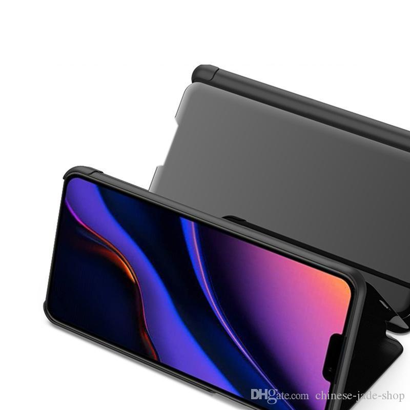 Spiegel Plating Ansicht Fenster Fall-Standplatz-Schlag-Leder Kunststoff-Shell-Abdeckung für Iphone 11 11 PRO MAX XR XS MAX 6 7 8 PLUS 50pcs / lot Klein