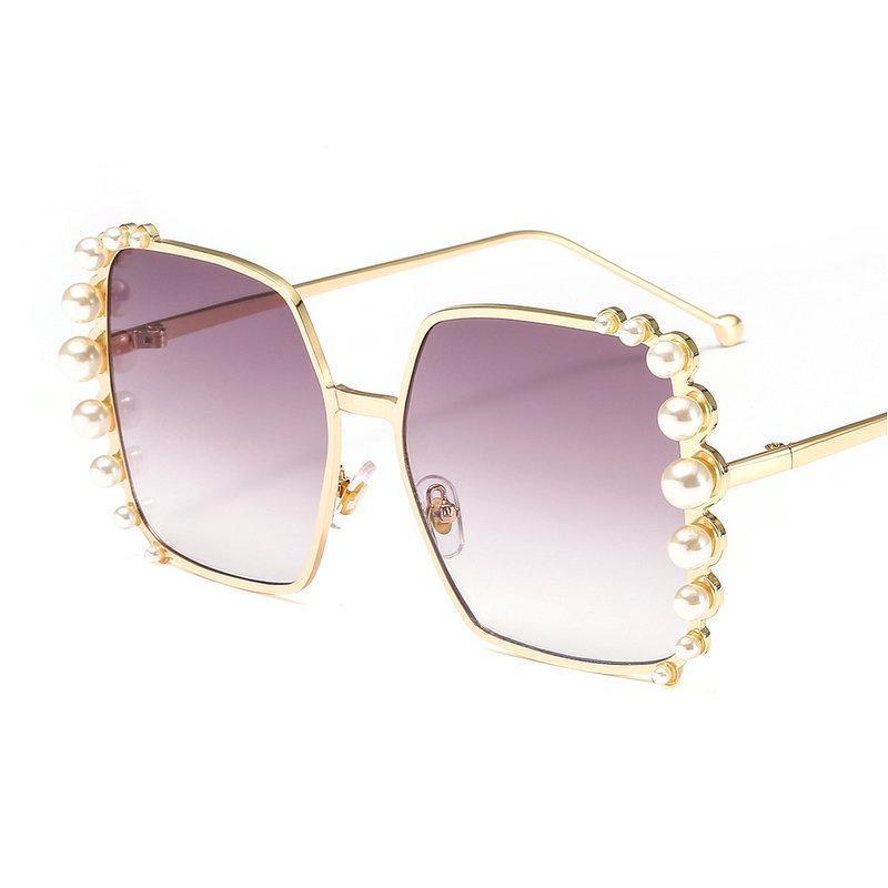 Marco Rhinestone de las gafas de viajes UV perla grande MINCL / Moda gafas de sol de gran tamaño de las mujeres de lujo de los vidrios Gafas de punk NX
