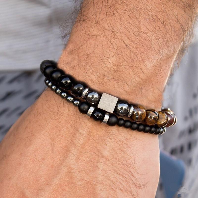 prix compétitif 1b447 d7523 Acheter 2019 / Ensemble Bracelets Hommes De Luxe Nouvelle Mode Perle Strand  Hommes Bracelet Pierre Charme Bracelet Pour Hommes Bijoux Cadeau De $7.64  ...