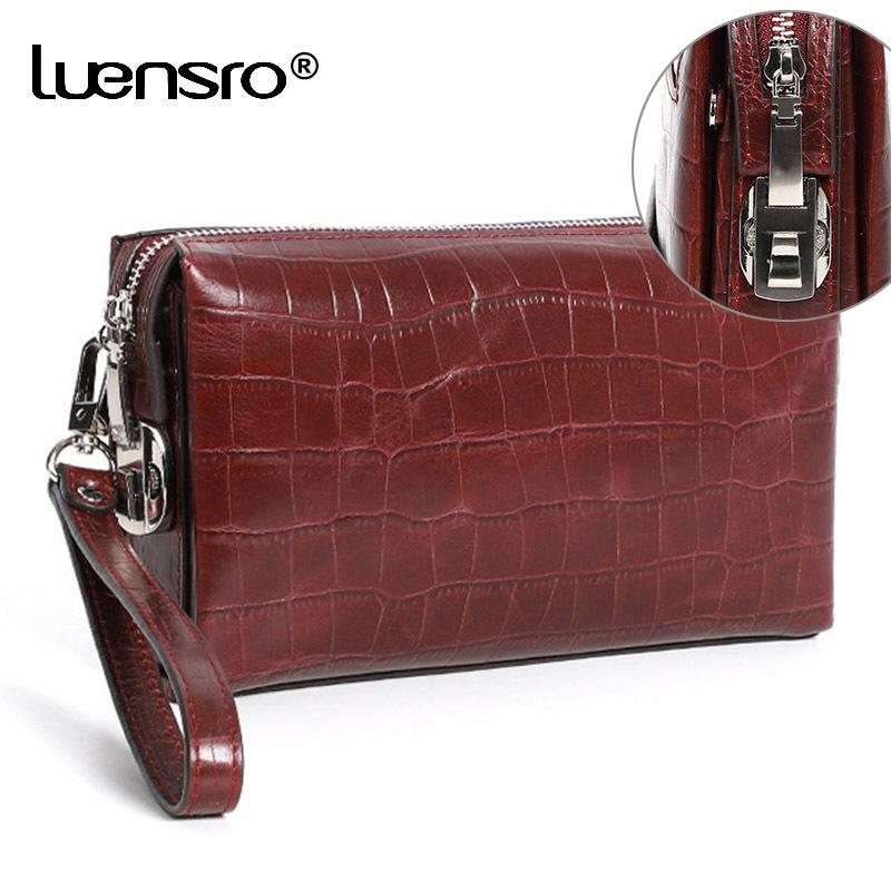 Luensro الرجال محافظ مشفرة قفل جلد طبيعي سحاب طويل محفظة مع كلمة السر حماية مخلب حقيبة مكافحة سرقة الذكور محفظة MX190720