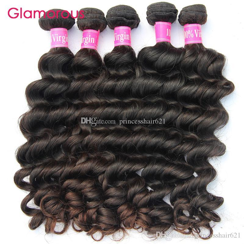 Glamoroso atacado cabelo brasileiro tece mais populr natural onda cabelo tecida 10 pacotes 100% original extensões de cabelo humano