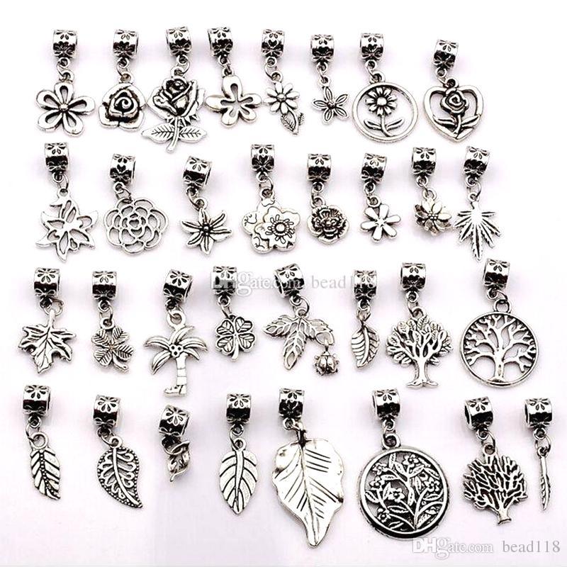 160pcs Argent Antique Argent Mixte Fleurs, Arbres, Feuilles Pendentif Pendentif pour Bijoux Collier Bracelet Collier Bricolage Accessoires DIY