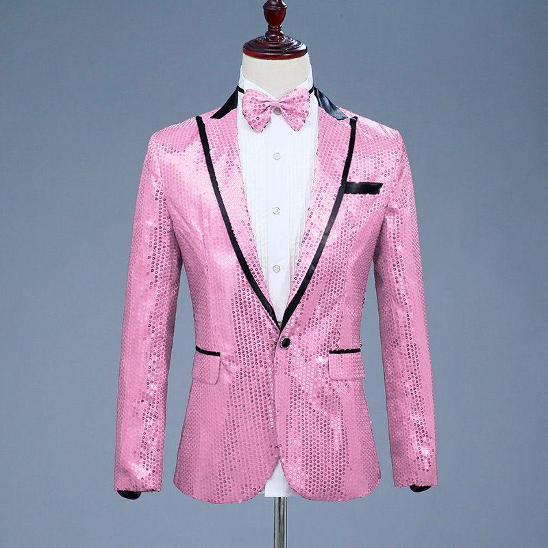 Rosa Men brilhante lantejoulas Glitter embelezado Blazer Jacket Men Nightclub Blazer Anfitrião da festa de casamento paletó Stage Singers Brasão