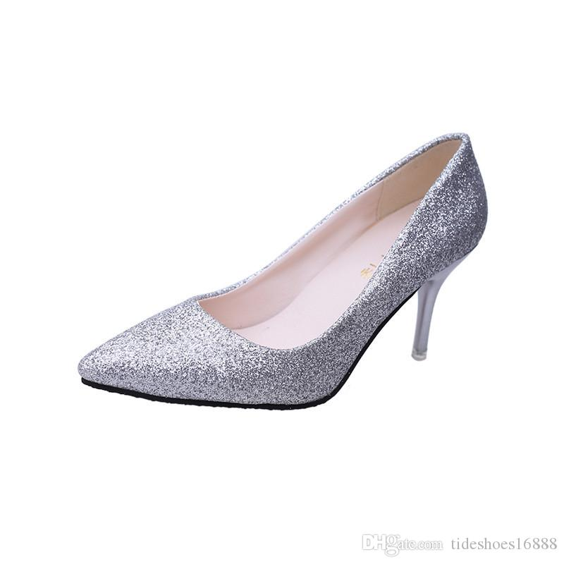 2019 Sexy Womens Black High Heel Shoes Pointed Toe Gold Silver Party Wedding Shoes Stiletto Heels Shiny Valentine Shoes Women