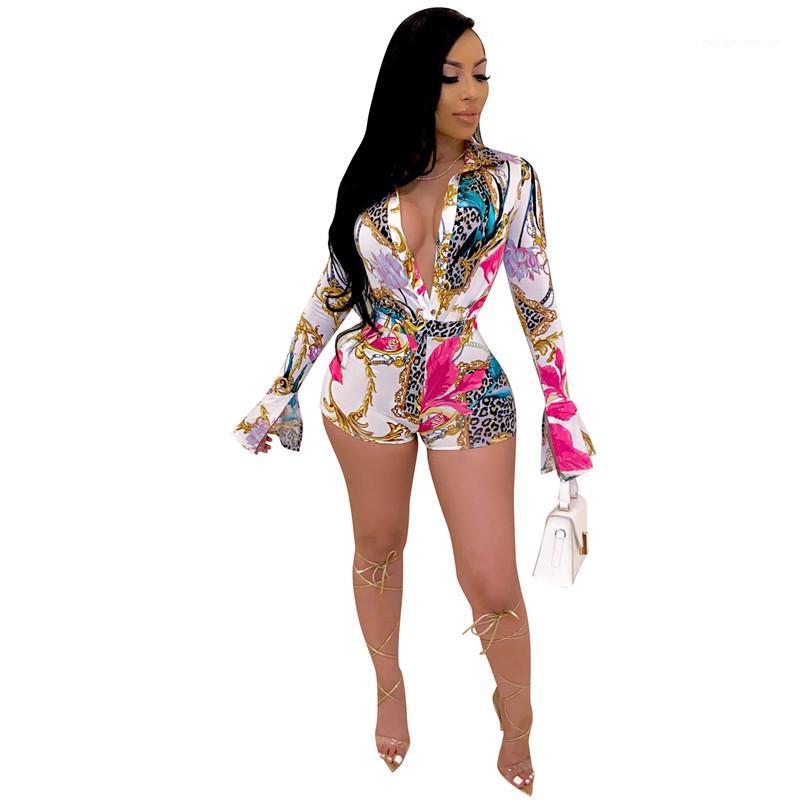 Комбинезон Женщины Мода Женские Rompers Женская одежда 2020 новых женщин Дизайнерские Печатный костюм воротник повседневные шорты