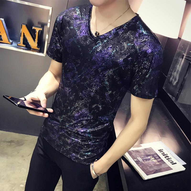 La mitad de manga 2018 verano masculino de impresión camiseta de los hombres de Trend V-cuello delgado de la personalidad del club de noche los hombres superiores de crecimiento camiseta