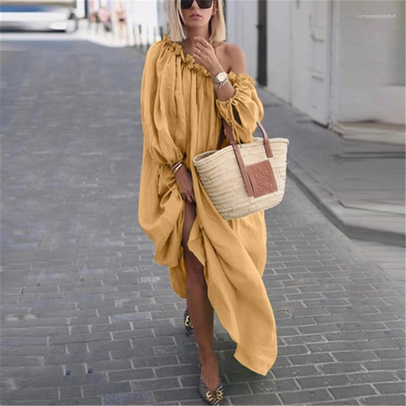 Solid Color Frauen lange Kleider Beiläufiges Designer Frauen Kleidung Bekleidung Damen Kleider Graceful Fashion-Boot-Ausschnitt
