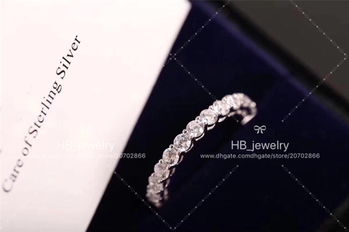 Mode argent sterling 925 diamants pleine anelli anneaux moissanite pour les femmes de conception Party ensembles de fiançailles de mariage bijoux pour la mariée avec la boîte