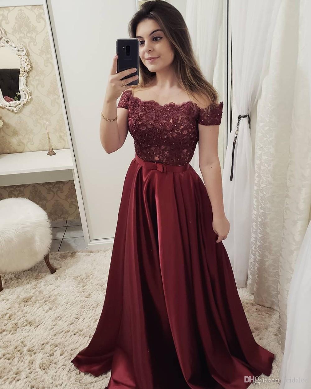 Compre Vestidos De Gala 2019 Elegante Fuera Del Hombro Vestidos De Noche Largo Borgoña Sexy Fuera Del Hombro Una Línea Vestido De Fiesta Formal Con