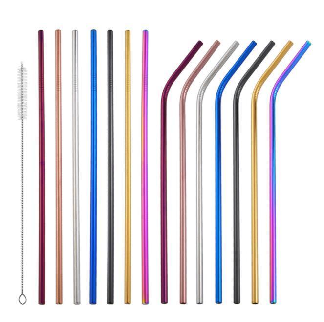 Renkli Içme Saman Paslanmaz Çelik Düz Bent Kullanımlık Payet Suyu Sütü Parti Bar Saman 215 * 6mm KKA6432
