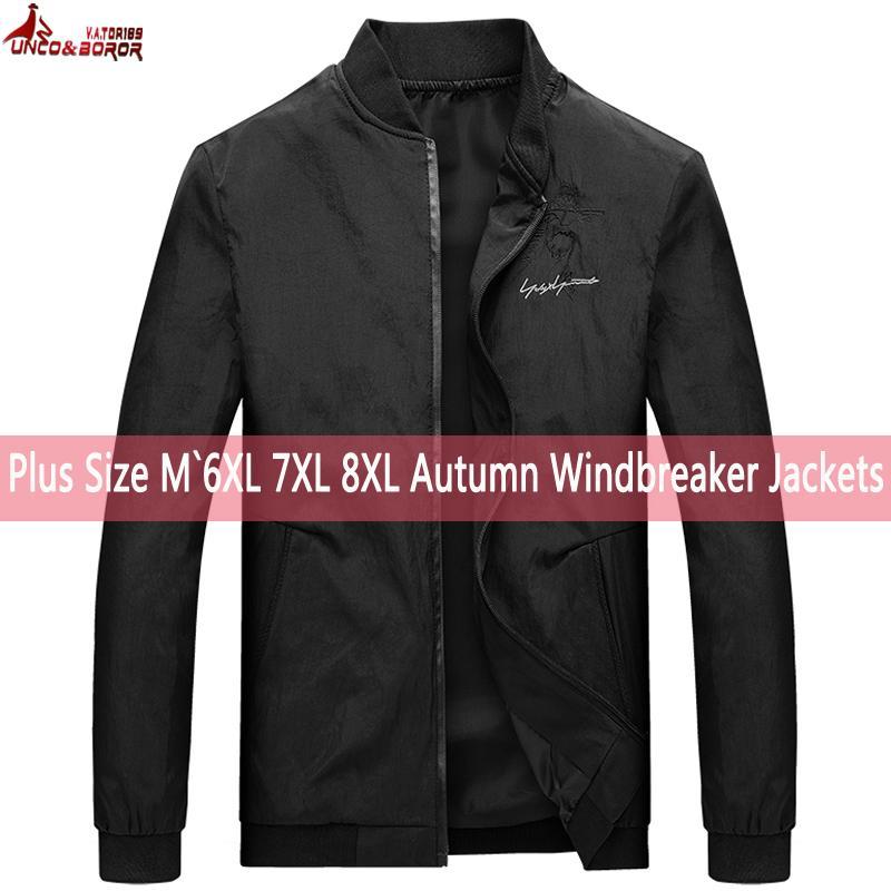 Mens Vestes Casual Couleur Unie Manteaux Mens Coupe-Vent Sportswear Col Montant Mince 6XL 7XL 8XL Vestes Homme Bomber