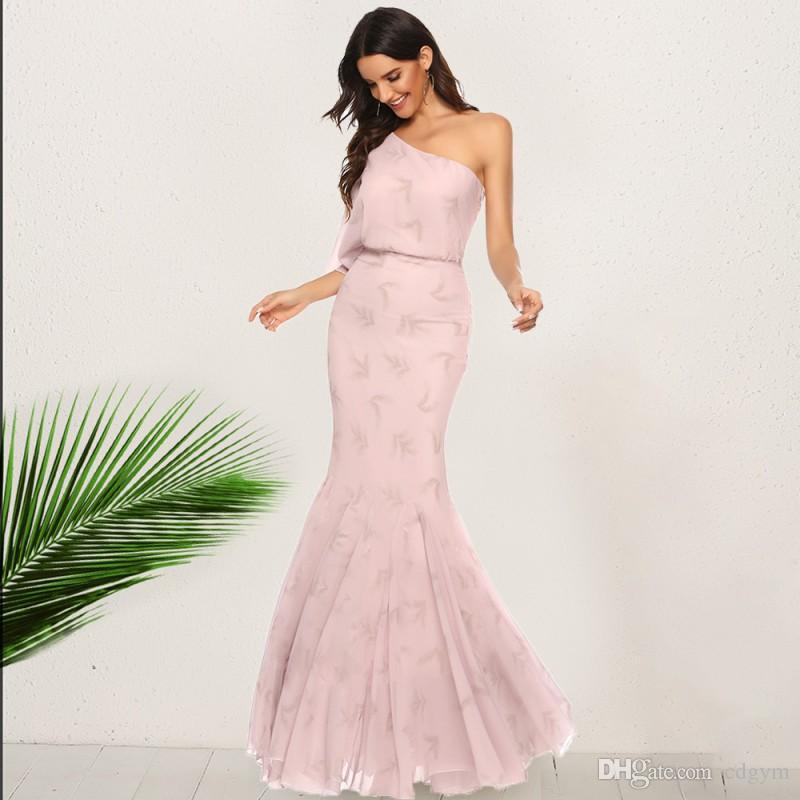 Одно плечо с плеча вскользь шифоновое платье партии Труба Русалка Desses Ночной клуб платье партии одежды Женщины LQ5231
