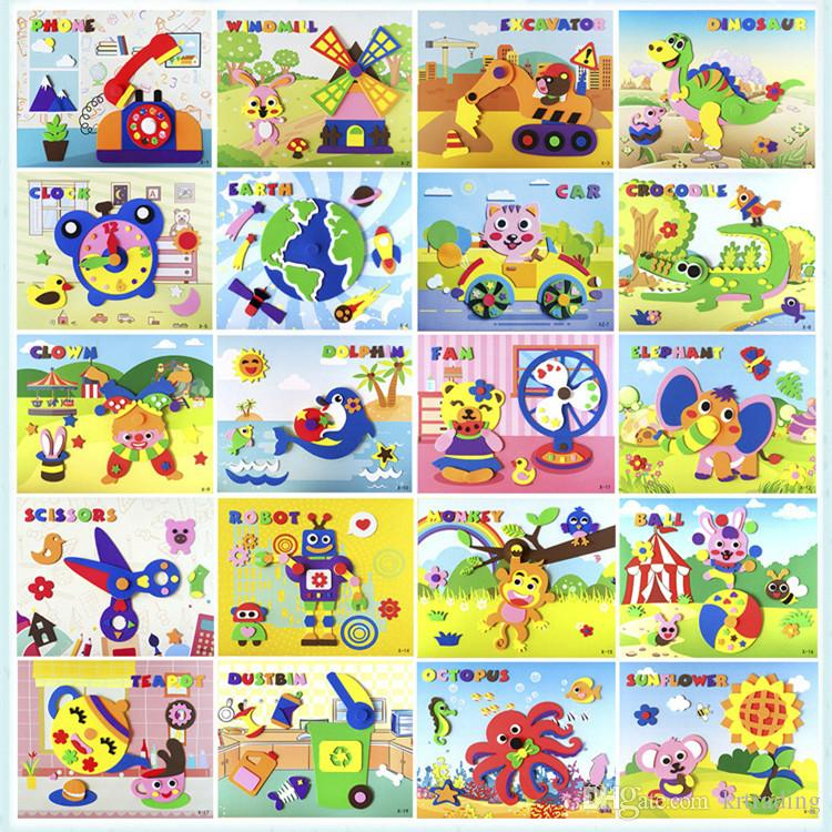 Kids Turntable DIY EVA pinup picture 20 styles 21x26cm rotatable stickers Animal Vehicle Octopus Plant nursery school Toddlers education toy