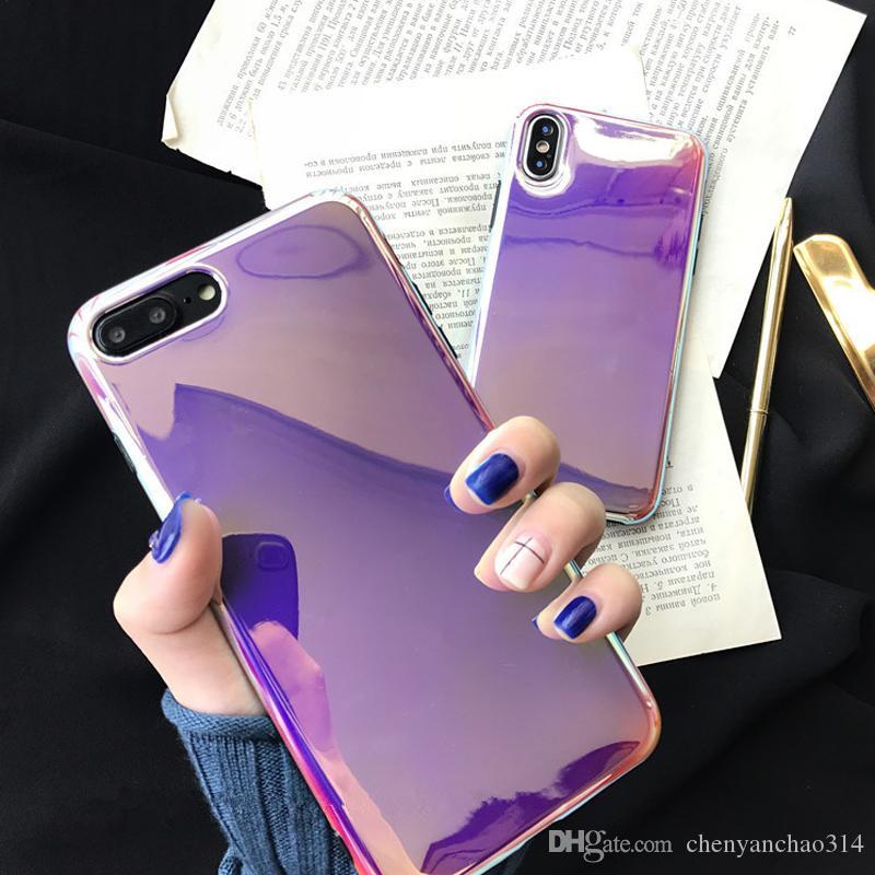 Cas de téléphone de miroir de Glaza de laser pour l'iPhone 6 6S 7 8 plus le luxe doux IMD de téléphone couverture arrière cas de couleur unie pour l'iPhone X