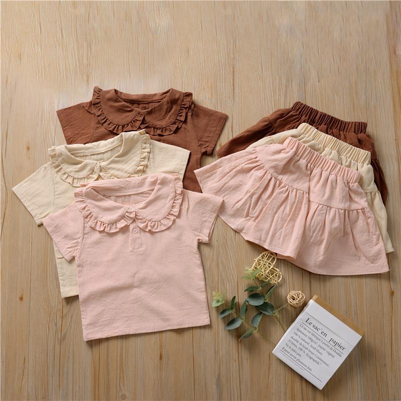 2020 Brand Baby Girls Cotton Linen Clothes Children Summer Short Sleeve Lotus Leaf Top T-shirt Ruffles Tutu Shorts Skirts 2Pcs