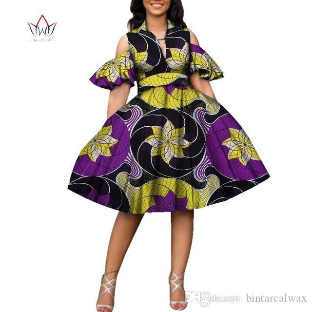 Новый хлопок африканских печати платья для женщин Базен Riche женщин V-образным вырезом до колен Длина Пачка платье Африканский стиль одежды WY2752
