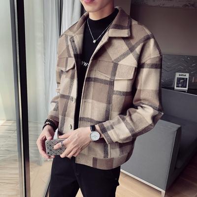 2019 outono e inverno nova juventude single-breasted lã de lapela dos homens blusão rede japonesa casaco solto shirt dos homens