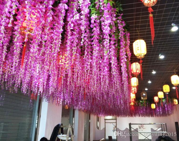 Artificial Vine Wisteria Blumen 43 Zoll / 110cm Silk Flower 9 Farben dekorative Blumen für Hochzeit Mittelstücke Dekorationen Zuhause-Party