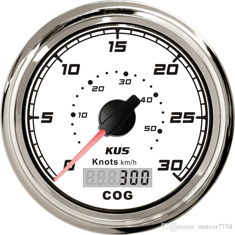 1pc High Quality 85mm GPS Speed Chart White Speedometer 0-30Knots 0-50km/h Waterproof Speed Mileometer for Boat with GPS Antenna