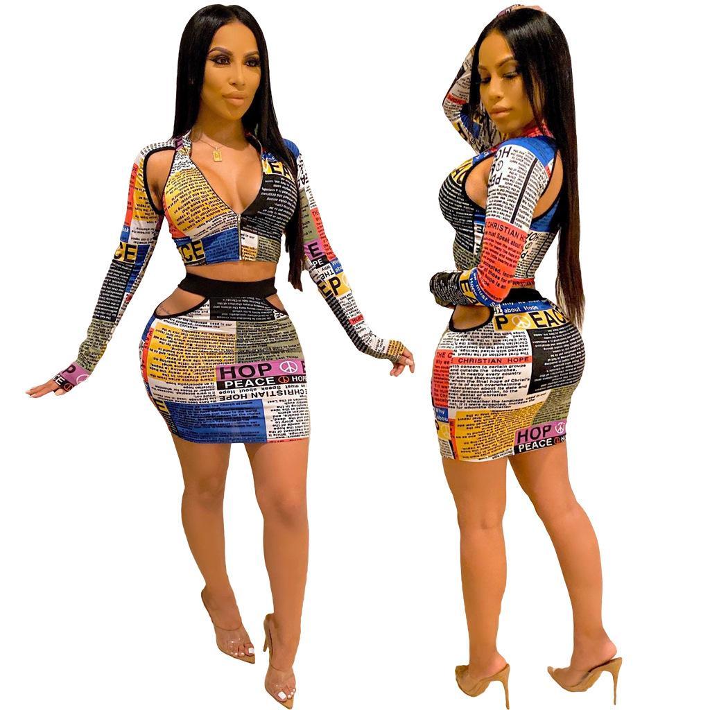 Sexy Zeitung Letter Print aushöhlen Reißverschluss 2 Stück Rock-Satz Passende Produkte Frauen Crop dünne Bleistift Minirock Clubwear Anzug Outfit