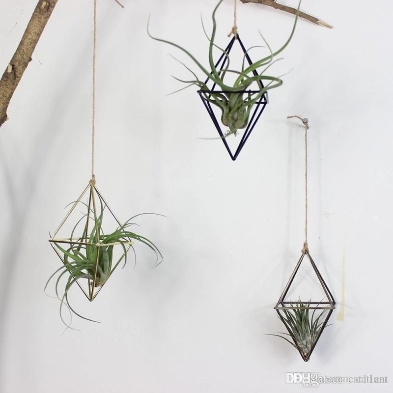 Decoración plantas colgantes Tillandsia aire rejilla de metal geométrico del arte del hierro plantador de la flor Pot jardinería Ministerio del Interior Decoración