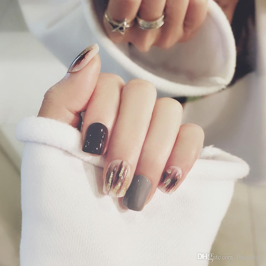 Fashionfake unghie grande pressa catena di cristallo sulle punte dei chiodi con adesivi gratuiti