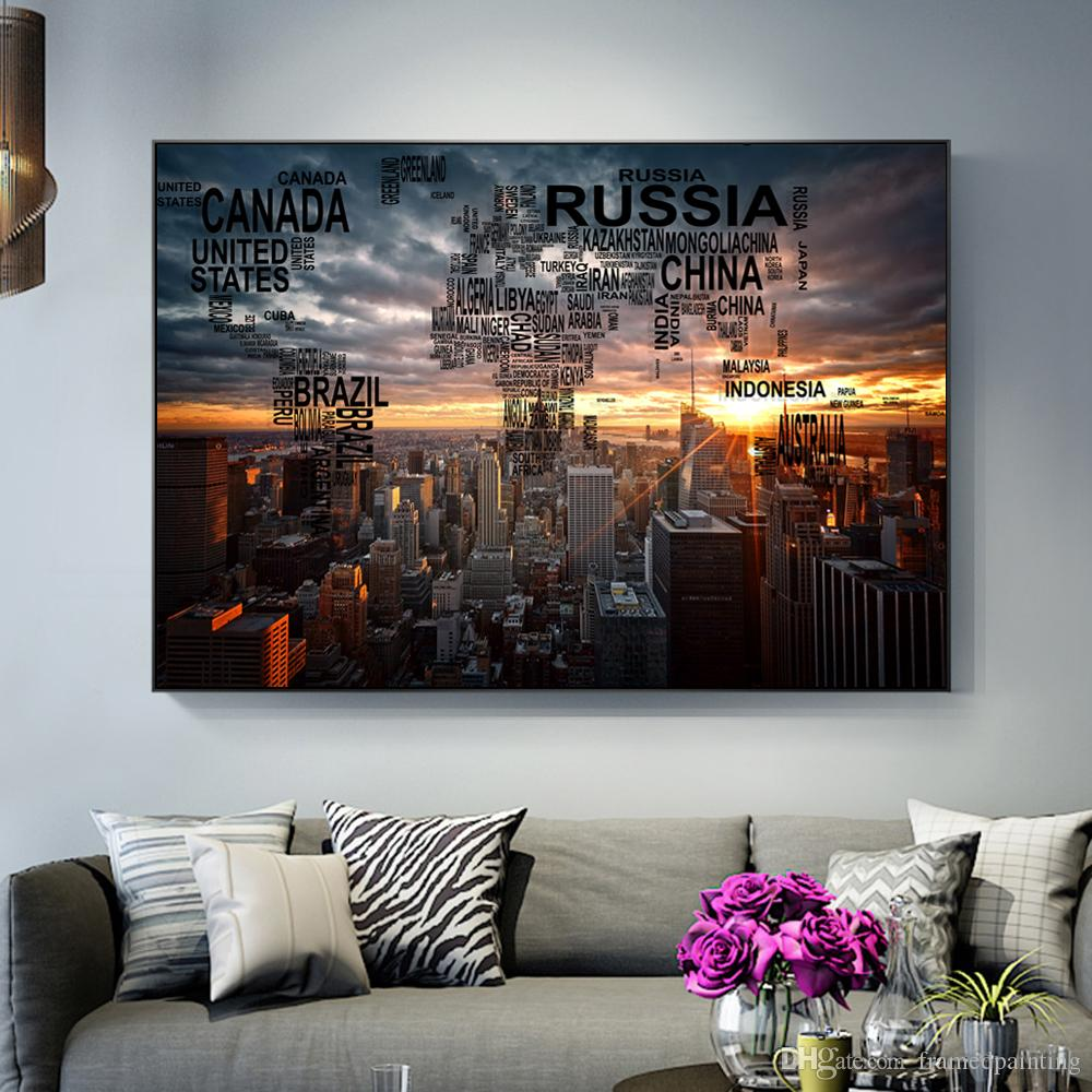 1 Pcs Empire State New York Skyscrapers Dawn Sunrise Wall Art Canvas Prints Letter World Map Paintings On The Wall Cuadros No Frame