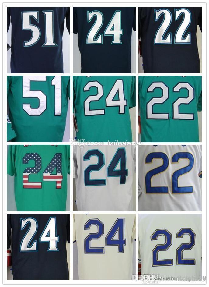 2018 New Mens 24 Ken Griffey Jr 51 Ichiro Baseball Jerseys 22 Robinson Cano 51 Ichiro Suzuki embroidery Baseball uniform