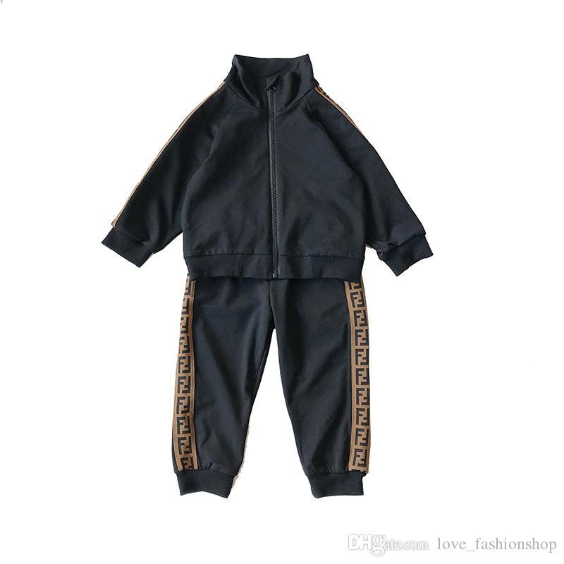 set Perakende 2019 yeni erkek kız mektup futbol beyzbol eşofman 2adet spor takım elbise (ceket + pantolon) çocuklar lüks tasarımcı kıyafetler bebek eşofman