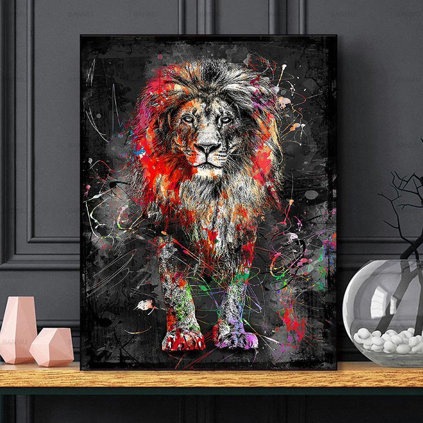 Безрамное красочное львиное животное абстрактное живопись современной стены художественное изображение для домашнего произведения искусства плакат холст роспись домашнего декора