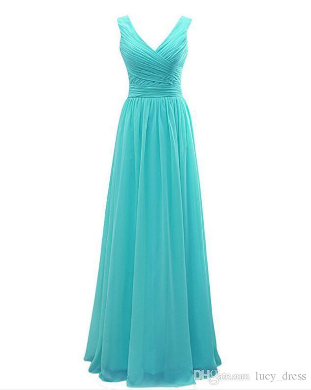 섹시한 신부 들러리 드레스 긴 하녀 명예 드레스 저렴한 맞춤형 V 넥 시폰 뜨거운 판매 공식 파티 가운