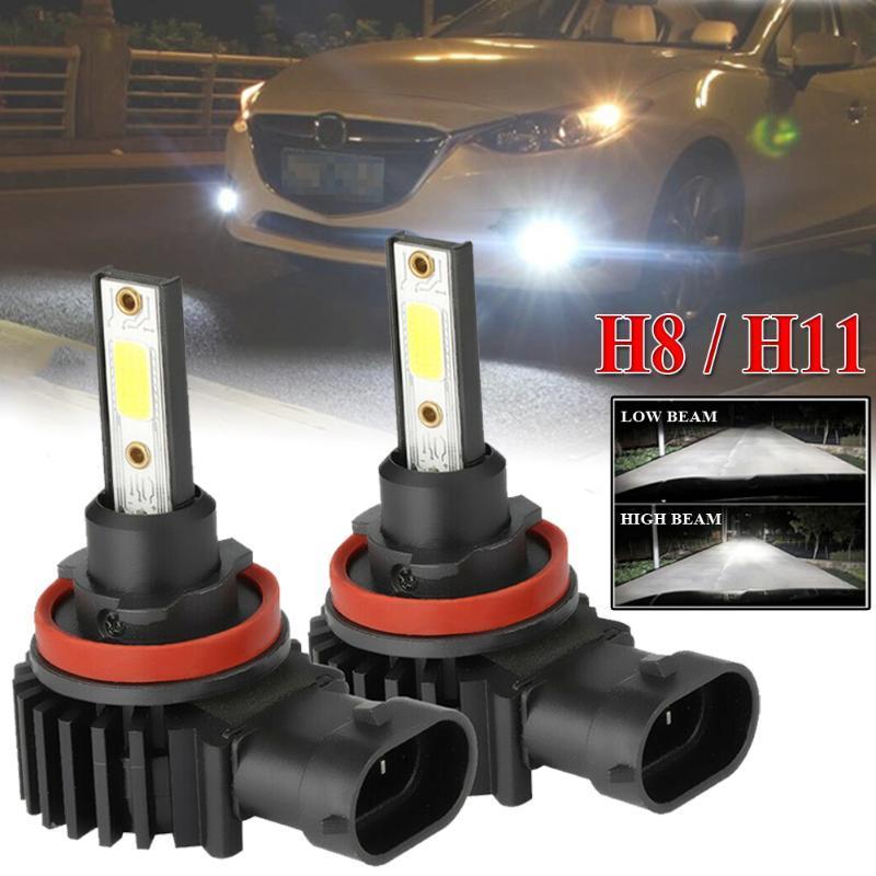 2pcs H11 / H8 Ampoule LED HI / LO faisceau voiture Phares antibrouillard Conduite 6500K Lampe 33000LM phares Phares antibrouillard Super Bright Courir Ampoule