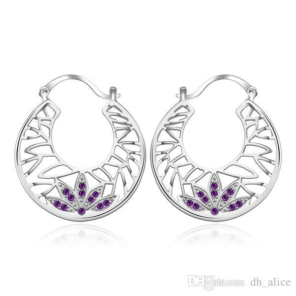 Banhado a prata esterlina de ouvido céu aberto gotejamento brincos de diamante DJSE415 tamanho 3.5X3.1CM; 925 prata placa de orelha rotador brincos de jóias femininas
