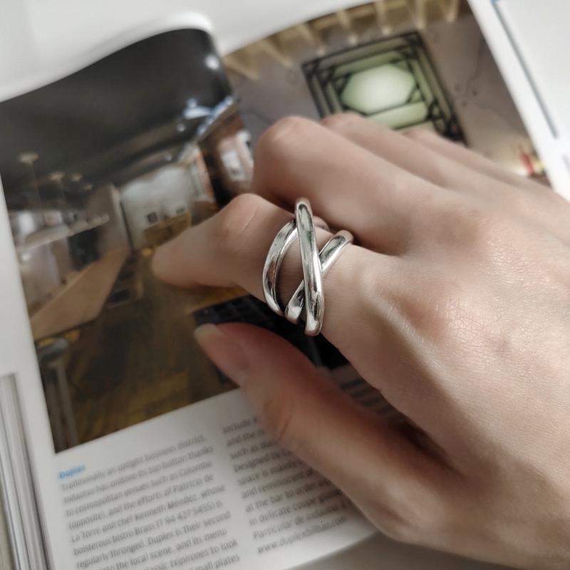 LouLeur 925 linha prateada bruto tecer irregulares estilo indústria anéis textura criativas para CJ191128 mulheres Amizade presente da jóia
