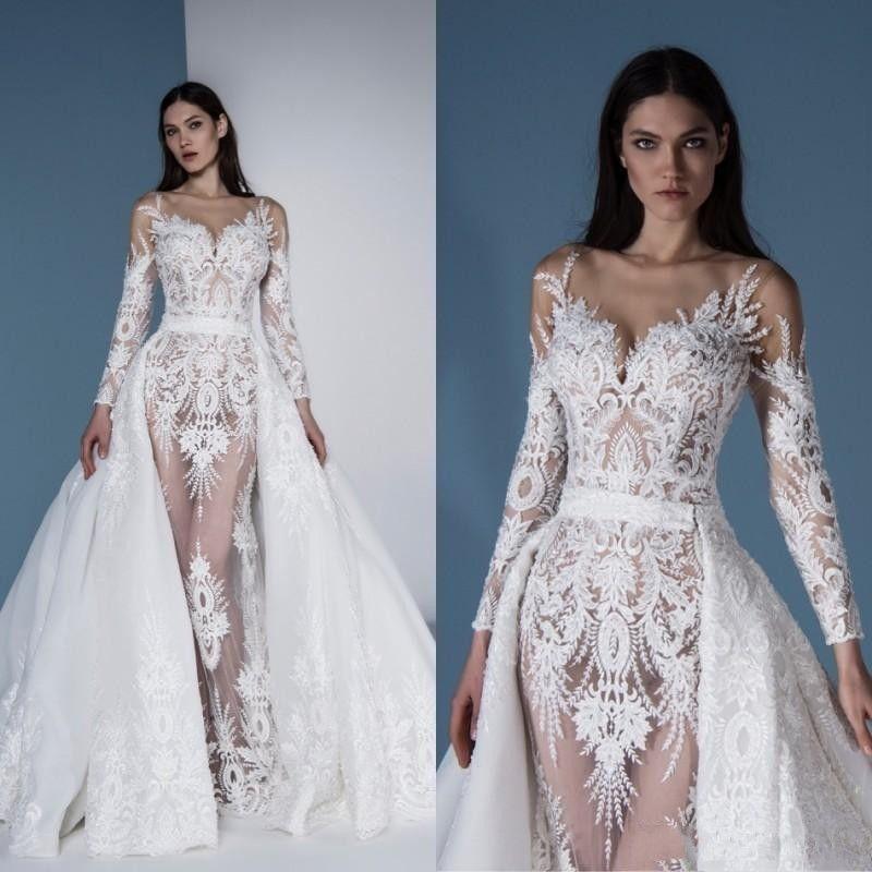 Elie Saab 2020 Sereia Vestidos De Casamento Destacável Saia De Renda Appliqued Modest Vestidos De Novia Varrer Trem Verão País Vestido De Noiva
