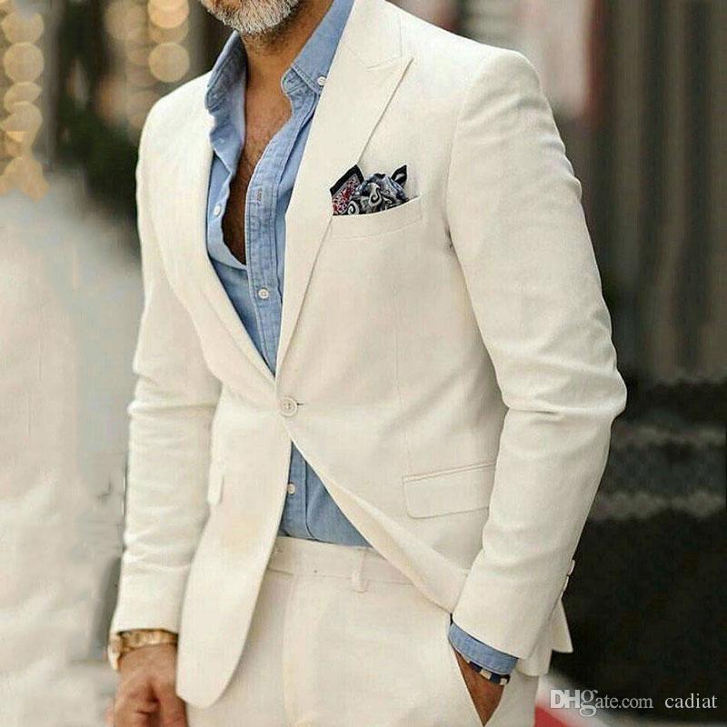 Casual Ivory Business Men Klagen für Hochzeit Bräutigam Smoking Individuelle Best Man Outfits Groomsmen Attires 2Piece Slim Fit Ternos Kostüm Homme